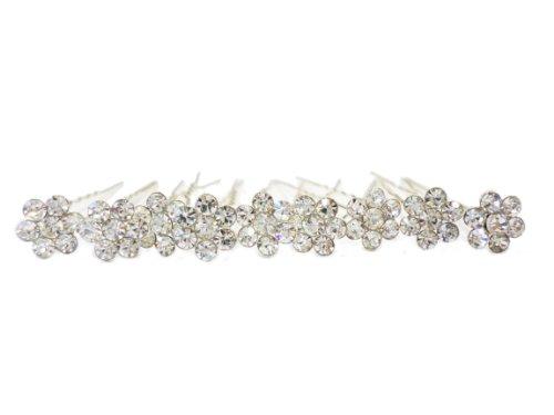 6 Of SPARKLY Silver flower DIAMANTE STONE HAIR PINS Diamante Crystal Bridal Hair by LondonProm