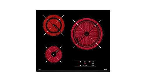 Encimera - Teka TT 6320 Vitrocerámica, 3 zonas de cocción, 5600 W, Marco inox