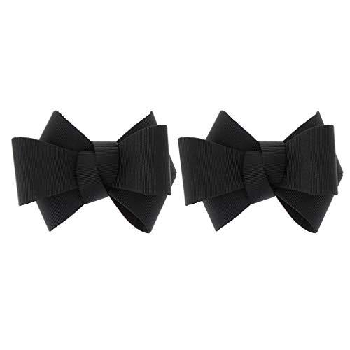 freneci 1Pair Bowknot Shoes Charm Buckle Clips Removable Wedding High Heel Shoe Clip - Black, 8cm