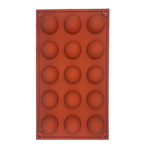 Fovely - Molde de silicona para repostería, 15 cavidades, semicírculos, bóveda de silicio, molde para hornear pasteles, jabón, jalea, pudín, caramelo, chocolate, bombas de helado