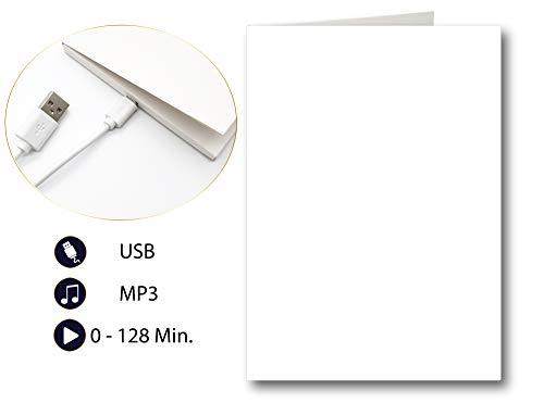 PlayMegram bespielbare blanko Audio-Grußkarte mit USB und 128 MB Speicher, Für eigene Sprachnachrichten und Musik, Musik-Grußkarte, Audio-Glückwunschkarte, Kreative Geschenkidee