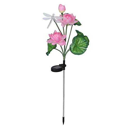 Redxiao Plastic Material Colorful Style ABS Spike Solar Garden Lamp, Energy-saving LED Garden Lamp, for Park Garden Community(Pink lotus + dragonfly)
