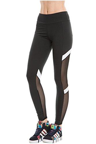 CHIC DIARY Damen Tech Mesh Sport Strumpfhose Leggings Fitness Yoga Joggen Pants Uni Farbe Hose, Schwarz, S/M Size