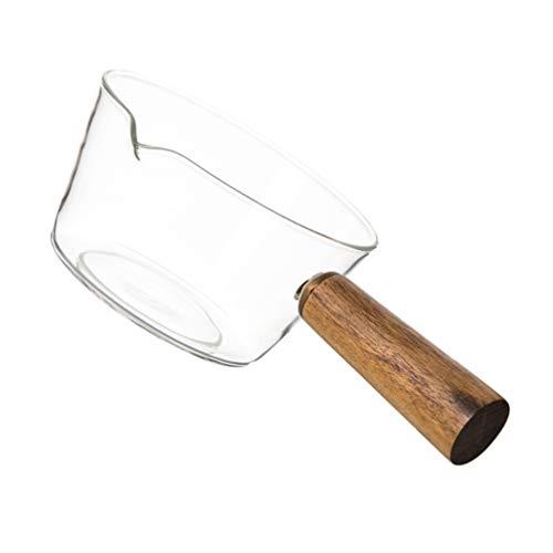 Cabilock Panela de vidro transparente com cabo de madeira, vidro borossilicato antiaderente, vidro medidor de vidro, jarro para cozinha e restaurante (transparente 600ml)