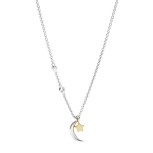 Fossil JFS00432998 Damen Collier Stern Mond Wish upon a star Sterling-Silber 925 Bicolor Gold Weiß Zirkonia 47 cm