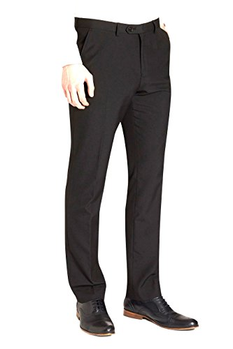 Navy - Reular silm fit plain-fronted trouser with a formal crease. these trousers comes with belt loops and flat front styling, along with a hook and bar, and zip fastening