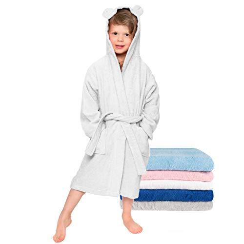 Kinderbademantel, Mädchen, Junge - Größe 98-104 (3-4 Jahre), Weiß - Ohne Chemikalien (Oeko TEX), 100% Baumwolle - Morgenmantel, Bademantel kuschelig 2 Taschen, Gürtel, Kapuze mit Ohren