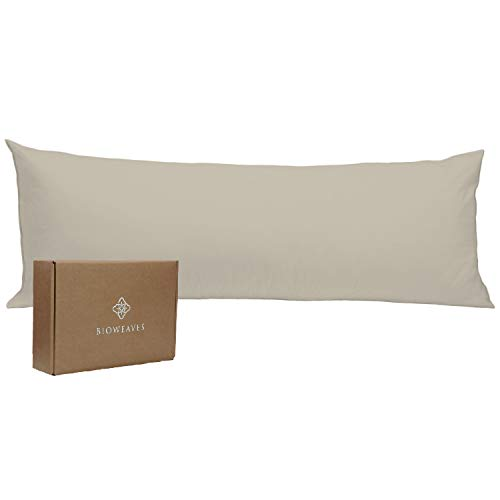 BIOWEAVES 100% Organic Cotton Body Pillow Cover for Body Pillowcases 300 Thread Count Soft Sateen Weave GOTS Certified with Zipped Closure - 21' x 54', Sand