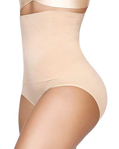 SIMIYA Damen Miederslip, hohe Taille Unterhosen Bauch Weg Miederhose, Nahtlose Taillenslip Formslip Figurformender Miederpants Shapewear, XL-XXL, Beige