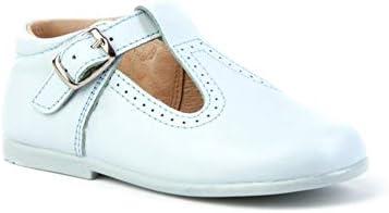 Zapatos pepitos para bebé con Cierre de Hebilla. Patucos Unisex Primeros Pasos Fabricados en Piel - Mi Pequeña Modelo 503I Color Azul Celeste.