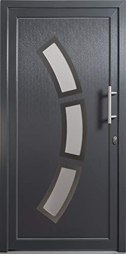 HORI® Haustür Lille I Kunststoff Haustüre mit Glaseinsatz I Anthrazit (Innen Weiß) I Größe 2100 x 1100 mm I DIN rechts
