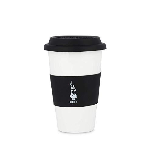 Bialetti To Go - Taza de oficina (con doble pared), taza de porcelana con tapa y banda de silicona, capacidad 300 ml, color negro, negro