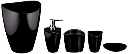 Amazon Basics 5 piezas - Juego de accesorios para cuarto de baño de bambú - Negro líquido