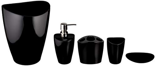 AmazonBasics 5-Piece Bathroom Accessories Set, Liquid Black