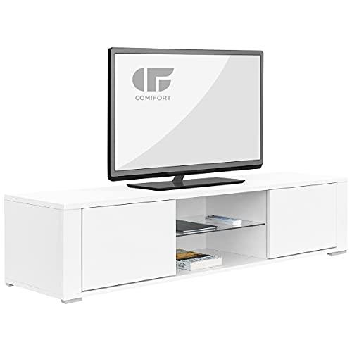 COMIFORT Mueble de TV - Mesa de Salón Moderno, Puerta con Sistema Click, Estante de Cristal Templado, Muy Resistente, Fabricado en Europa, Color Blanco