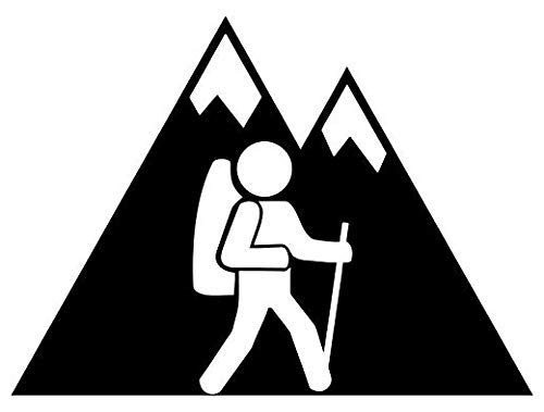 Hiking Mountain - Sticker Graphic - Auto, Wall, Laptop, Cell, Truck Sticker for Windows, Cars, Trucks