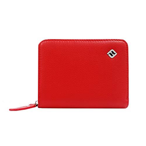Portemonnaie Damen mit RFID Blocker, Leder, Münzfach, rot, klein | Geldbörse, NFC Schutz Geldbeutel, Portmonee, Geldtasche, Brieftasche, Damengeldbörse, Damenportemonnaie, Damenbörse, Damengeldbeutel