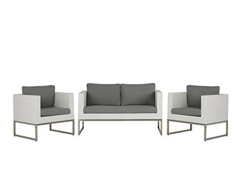 Beliani Modernes Gartenmöbelset Sofa 2 Sessel Ottomane Couchtisch weiß/grau Crema