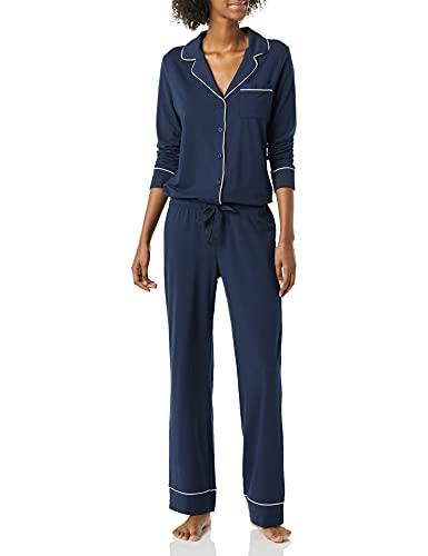 Amazon Essentials Cotton Modal Long Sleeve Shirt Full Length Pant Pajama Set Pigiama, Blu Marino, L