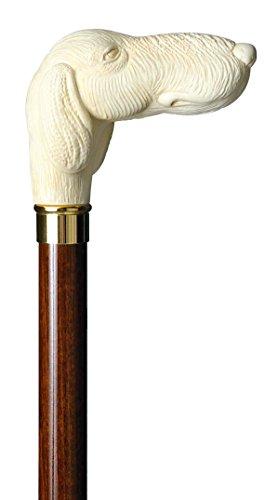 Gehstock Knaufstock POINTER, Hundekopf elfenbeinfarben mit Schmuckmanschette aus Messing, aufgesetzt auf einen Stock aus seidenmatt-braun lackiertem Buchenholz, inklusiv Schlankpuffer.
