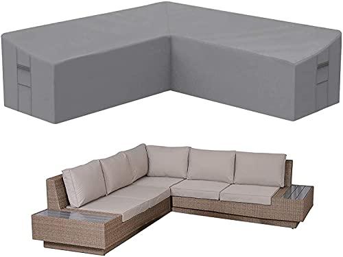 AKEfit Funda para sofá seccional en forma de V para exteriores, tela impermeable de alta calidad, color gris, 100 pulgadas de largo x 33.5 pulgadas de profundidad x 31 pulgadas de alto