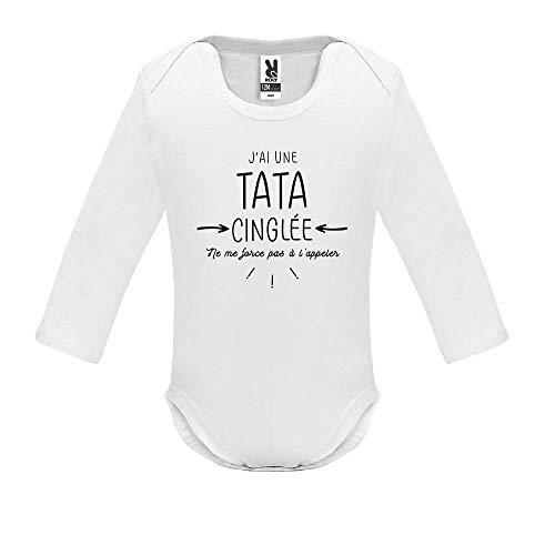 Body bébé - Manche Longue - J AI Une Tata cinglee - Bébé Garçon - Blanc - 9MOIS
