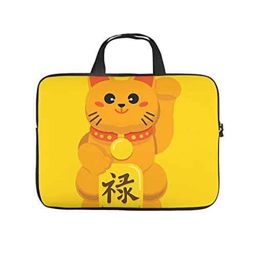 Japonés Lucky Cat animal bolsa de ordenador portátil patrón bolsa de ordenador portátil colorido a prueba de polvo bolso portátil con asa portátil para mujeres hombres blanco 17 pulgadas