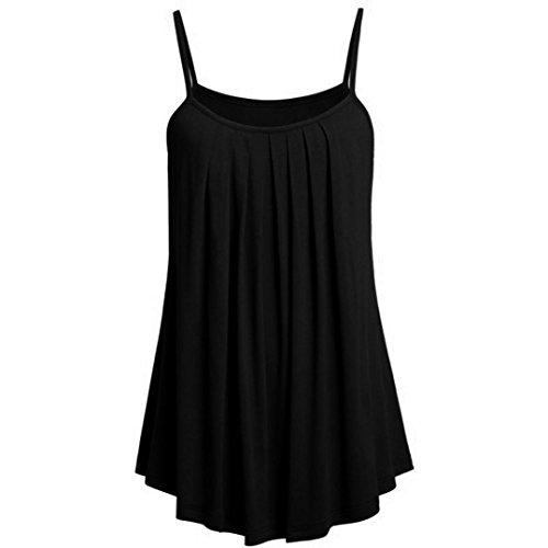 OVERDOSE Sommer Einfarbig Frauen Bluse Shirt Camis Pullis Oberteile Lose Leibchen Damen Einfarbig Chiffon Tank Tops Plus Größe S-6XL(C,2XL)