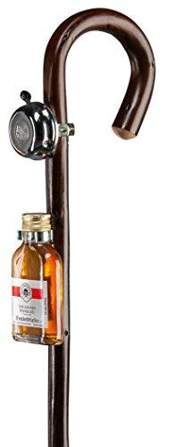 Gehstock Wanderstock VATERTAG, Rundgriffstock aus Edel-Kastanienholz gebogen, mit Klingel und Kräuterschnaps gefülltem Flachmann, inkl. Metallspitze