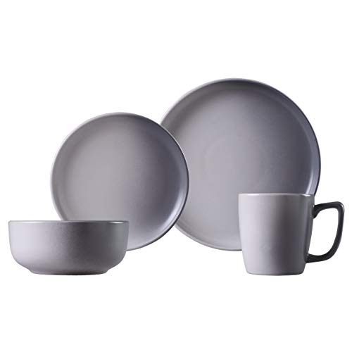 Carnaby CRM1146 Hoxton' Graphite 16PC Stoneware Set, Includes Dinner Side Plates, Bowls and 4 x Mugs, Gradual Sprayed Effect Finish-(Grey), Ceramic