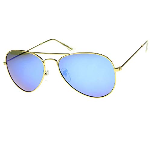 KISS Gafas de sol POLARIZADO mod. AIR FORCE 1 estilo Aviador - hombre mujer REFLEJADO GOTA fashion vintage - ORO/Azul