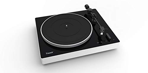 Timmit 33 & 45 RPM Belt Drive USB Bluetooth Vinyl Record Player with Moving Magnet Stylus & RIAA Equalizer - Black