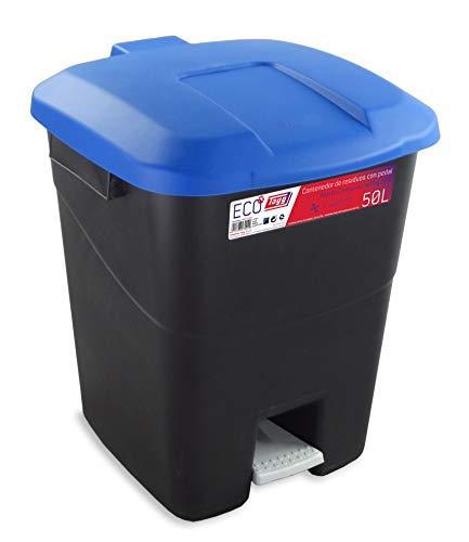 Contenedor de residuos 50 litros con Pedal, Base Negra y Tapa Azul, 430022