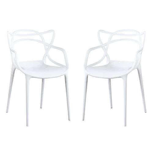 Milani Home s.r.l.s. Set di 2 Sedia in Polipropilene Plastica Bianca di Alta qualità di Design per Interno E Giardino Stile Moderno per Sala da Pranzo, Cucina