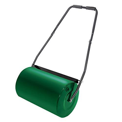 LZQ Rasenwalze Handwalze 57cm 46l Gartenwalze Füllvolumen Metall mit Schmutzabweiser Rasenroller Gartenwalze Ackerwalze Walze befüllbar mit Wasser/Sand Grün