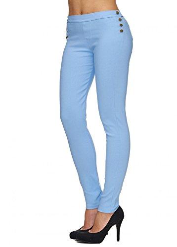 EGOMAXX Damen Treggings Stretch Röhre Leggings Hoher Bund Clean, Farben:Hellblau, Größe:L/XL
