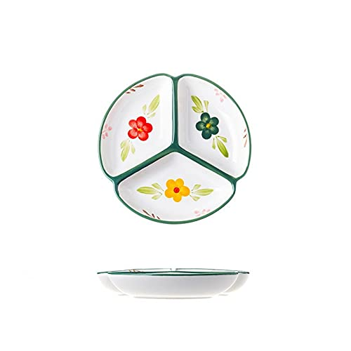 Plato redondo de cerámica para control de porciones, esmalte pintado a mano de granja Platos de cena divididos para postre Platos de ensalada Plato de porcelana dividido de 3 cavidades