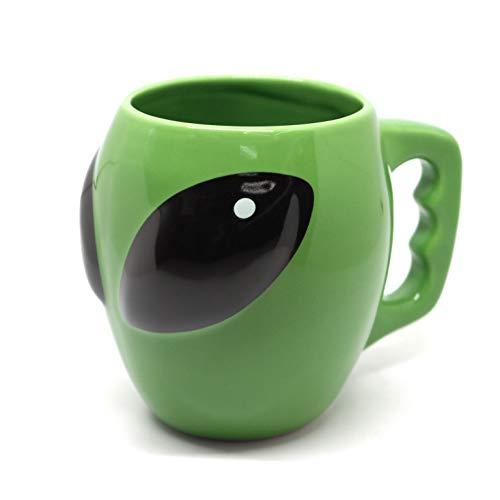 350ml 3D Alien Head En Forma De Taza De Café De Cerámica Taza Caliente Sin Tapas Divertido Porcelana Regalo De Oficina Viaje Novedad Estándar,Green-350ml