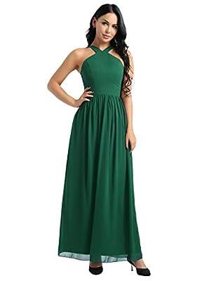 YiZYiF Womens Chiffon Criss-Cross Straps Evening Party Prom Gown Bridesmaid Long Dress Green 12