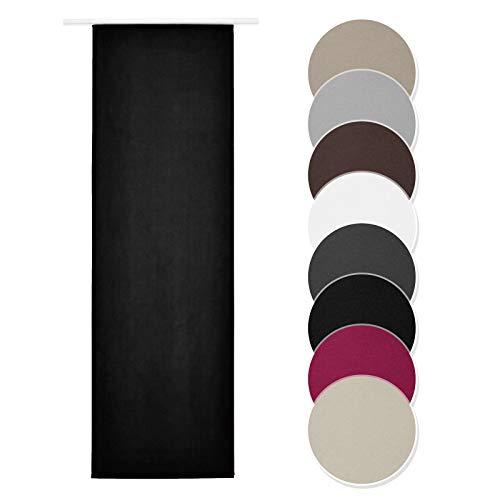Melody Schiebevorhang schwarz Blickdicht Raumtrenner mit Klettband Paneelwagen 60x245cm einfarbig #9018