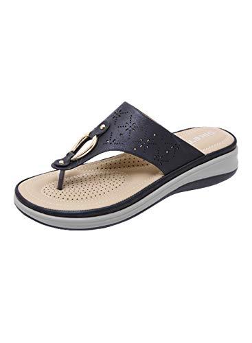 CORAFRITZ Zapatillas de verano con diseño floral hueco hacia fuera de la pendiente con clip para el dedo del pie de metal con botones de ajuste casual
