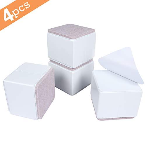 Ezprotekt 5 cm Möbelerhöhung aus Karbonstahl, 6cm breit, selbstklebende Möbelerhöhung fügt 5 cm Höhe zu Betten, Sofas Schränken, Unterstützt 20.000 lbs, Weiß Quadrat