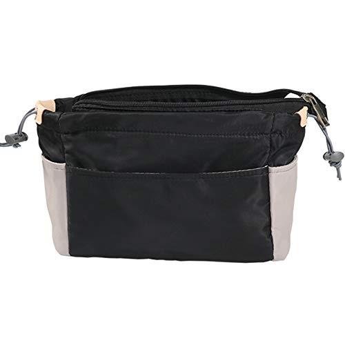 SHINGONE Nylon Handtaschen Organizer Mit Reißverschluss, Damen Taschenorganizer Reise Kosmetik Tasche, Tote Organizer Bag in Bag für LV - Schwarz