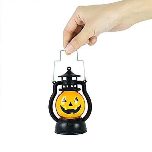 Linterna de calabaza con luz de flash para niños, agarre al aire libre, luces LED de calabaza con decoraciones de Halloween que funcionan con pilas, luz de calabaza, adornos de decoración (A)