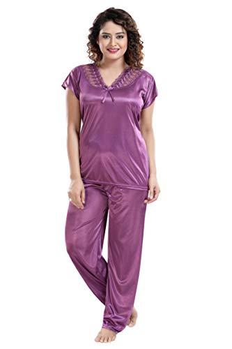 Two Dots Women's Solid Satin Nightsuit/Nightwear Set - Top &...