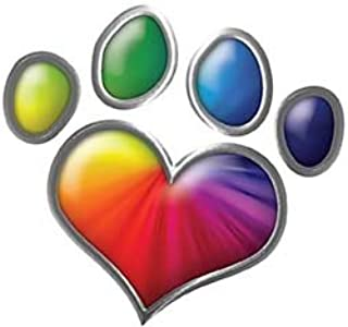 Weston Ink Reflective Dog Cat Animal Paw Heart Sticker Decal in Rainbow Colors