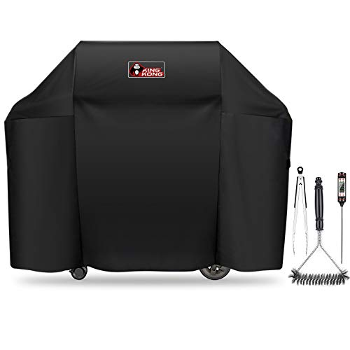 Kingkong 7130 Grill Cover for Weber Genesis II 3 Burner Grill and Genesis 300 Series Grills (Compared to 7130) including Brush, Tongs and Thermometer