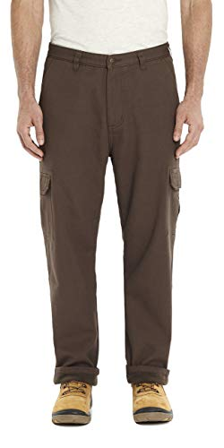 Stanley Men's Cargo Utility Work Pants with Fleece Bonded Lining Workwear Chocolate 42X30