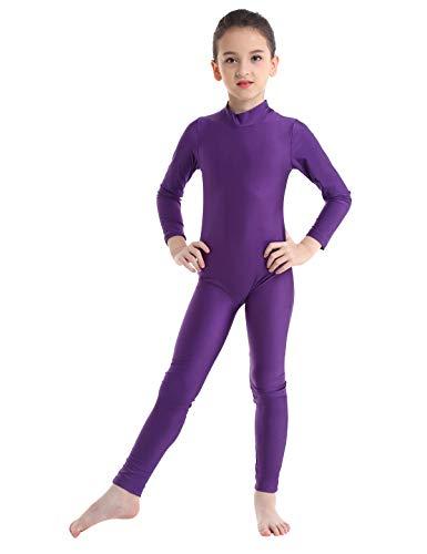 TiaoBug Maillot de Gimnasia para Niña Mono de Danza Fitness Gym Maillots Jumpsuit Deportivo Manga Larga Elástica Leotardo Ballet Patinaje Niña Morado 5-6 Años