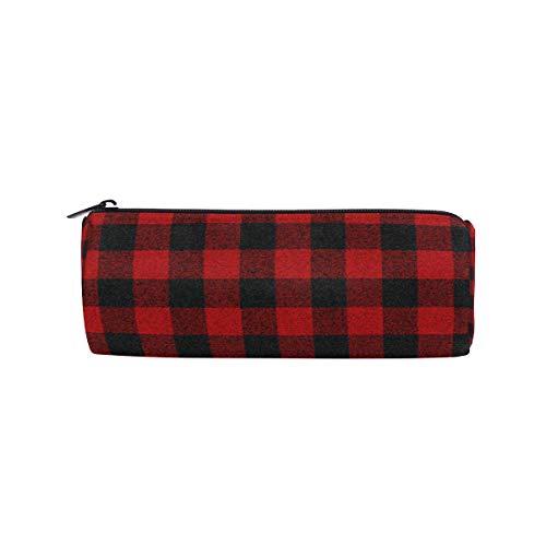 Crayon sac stylo cas pochette noir rouge maquillage à carreaux cosmétique ronde pour école de voyage filles garçons